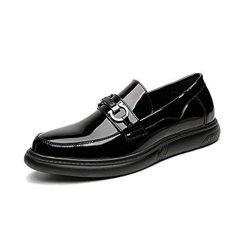 Noir 6.5MUS XIANGBAO-Personality Chaussures à Enfiler pour Homme Simple en Cuir PU Lisse Pantoufles en Cuir pour Hommes d'affaires (Couleur   Noir, Taille   6.5MUS)