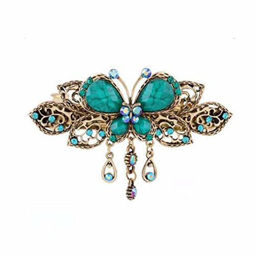 Sankuwen Women Retro Butterfly Style Hair Clips Beauty Tools (Blue)