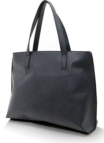 Mru (Mr. Yuu) Tote Bag Business PU Leather Tote (Black) by Mr. You