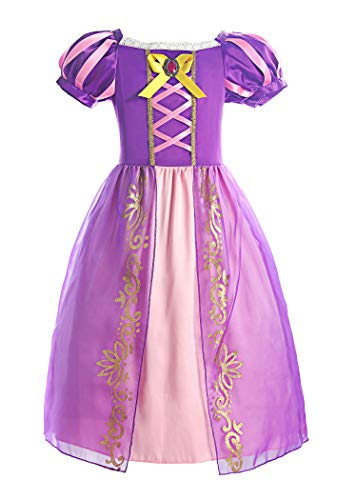 ReliBeauty Girls Rapunzel Dress Puff Sleeve Princess Costume, 6-7, Purple -