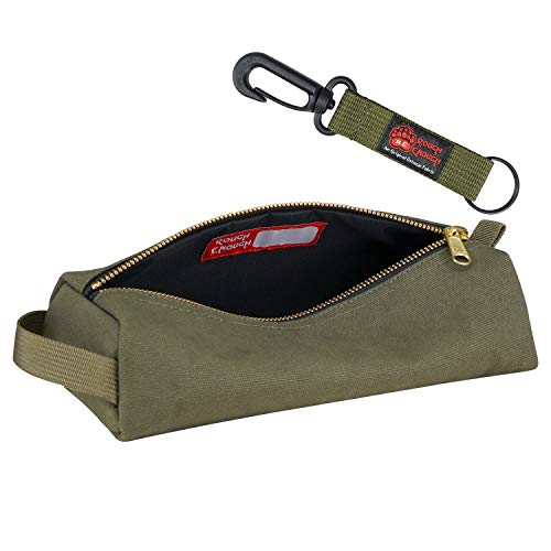 Rough Enough Canvas Small Multi Tool Pouch Zipper Tools Bags Big Pencil Case Stationary Organizer Pocket Box With Military Rugged For Boy Teen Student Men Garden Plier School Office Travel Home