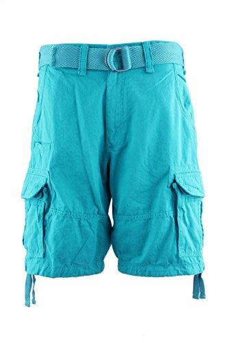 Jordan Craig Mens Classic Cotton Soft Casual Lose Fit Woven Belted Cargo Shorts (32, Aqua)
