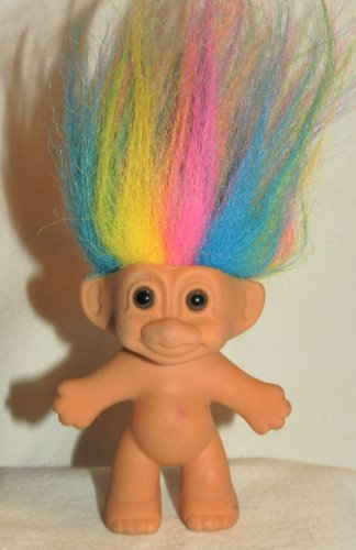 (RAINBOW HAIR TROLL 4 Inch Russ Lucky Doll Figure (Red Yellow Pink Blue Hair))