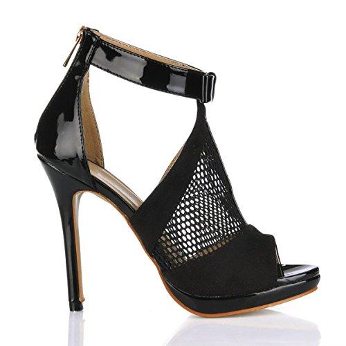 Best 4U® Tacchi alti da donna scarpe in vernice pelle scamosciata suola in gomma peep toe 12cm tacco piattaforma 1 cm traspirante primavera estate scarpe nere