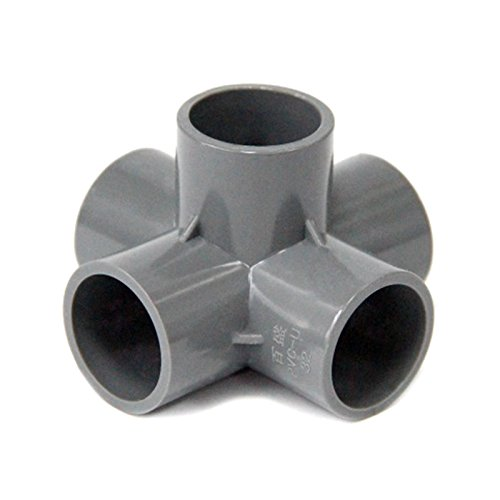 - 20Mm Inner Dia. Gray Solid PVC Pipe Connectors Greenhouse Plant Watering Main Pipe Fitting 3 4 5 6 Ways Stereo Joints 20mm Five-Way Inner Dia. 20mm