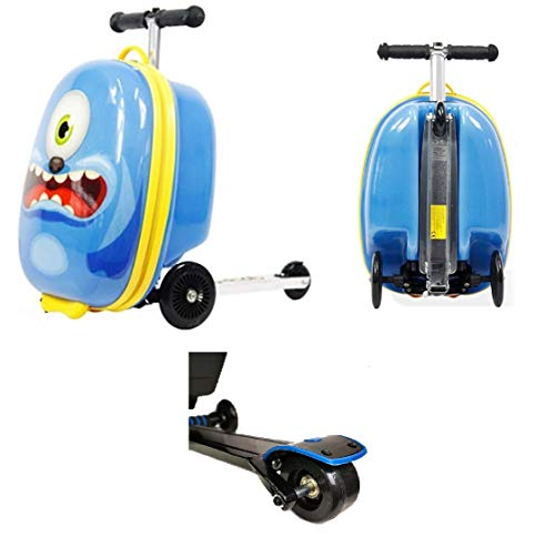 """KiMAX Kid's Luggage Scooter (Size: 18"""") – Monster Suitcase Scooter for Kids (3 Years up)"""