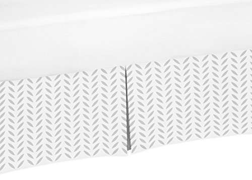 Gray and White Leaf Crib Bed Skirt Dust Ruffle for Girls or Boys Gender Neutral Deer Collection Baby Bedding Sets