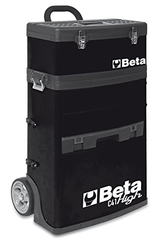 Beta Tool Box (BETA TOOLS MOBILE TOOL TROLLEY WITH 3 SLIDE-OUT DRAWERS AND REMOVABLE TOP BOX WITH CARRY HANDLE - BLACK)