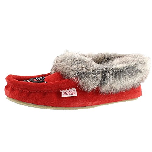 Softmoc Womens Cute Faux Me Crêpe Zool Nepbont Moccasin Rood