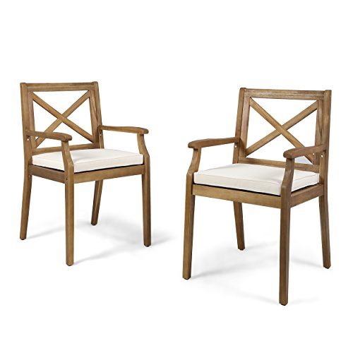 Teak Dining Chair Cushions - Great Deal Furniture 304680 Peter | Outdoor Acacia Wood Dining Chair with Cushion | Set of 2 | Teak/Cream