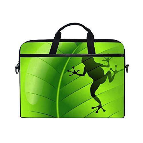 Leaf Green Laptop Sleeve (MRMIAN Frog On Green Leaf 15 inch Laptop Case Shoulder Bag Crossbody Briefcase Messenger Sleeve for Women Men Girls Boys with Shoulder Strap Handle, Back to School Gifts for Her Him)