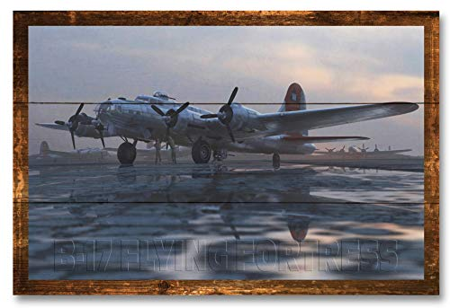 B17 Flying Fortress Bomber Plane Rustic Wood Art Print by Adam