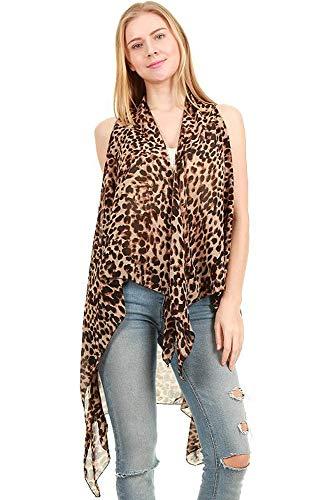 Long Drape Animal Pattern Printed Long Scarf Vest Brown ()