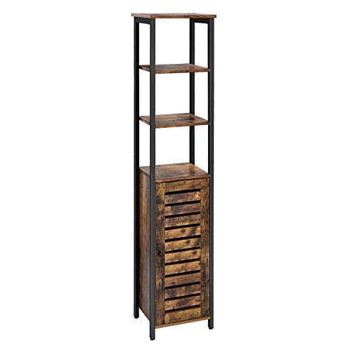 VASAGLE Industrial Bathroom Storage Cabinet, Narrow Floor Standing Shelf, with 3 Shelves and Cupboard, Tall, Multipurpose in the Living Room, Bedroom, Hallway, Kitchen, Rustic Brown ULSC37BX (Vintage Bathroom Furniture)