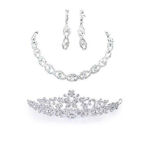 Gleader Orecchini collana diadema fascia artificiale monili set di  matrimonio sposa fascia del fiore diadema corona velo  Amazon.it  Gioielli ec2b3fdaf31a