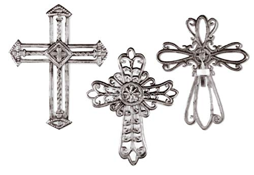 Haitian Hands 'Ornate Crosses - Set of 3' Haitian Handcrafted Metal Art Made from Recycled Steel Barrels