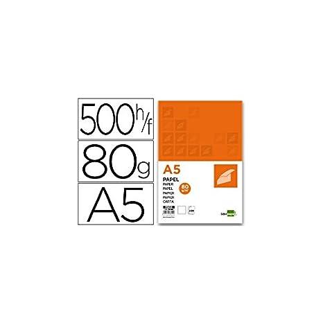 Liderpapel Papel A5 80g/m2 Paquete de 500 Color Blanco & AmazonBasics Papel multiusos para impresora A4 80gsm, 1 paquete, 500 hojas, blanco