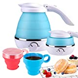 electric tea kettle two cups - Travel Foldable Electric Kettle Boil Dry Protection Portable Silicone Collapsible Water Kettle with Two Cups,0.5L 110-120V US Plug Bule