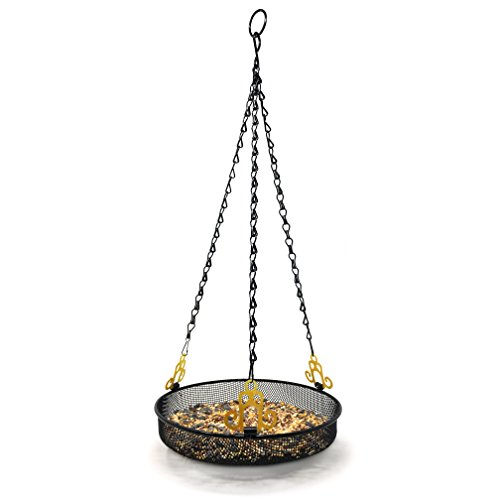 Gray Bunny GB-6890 Hanging Bird Feeder Tray with Strong Double-Loop Hanging Chains Steel Hanging Platform Bird Feeder Dish 9.25 inch (Dia) with 19 Inch Chains