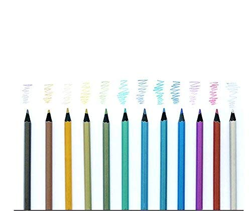 12 Count Metallic Colored Pencils for Adults Children Wooden Pencils