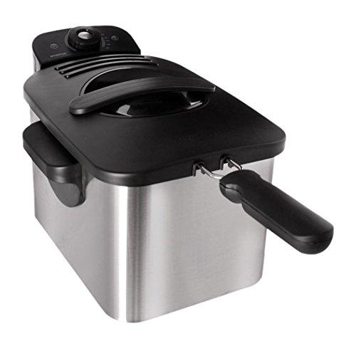Inventum GF441 Kaltzonen Fritteuse, 4 Liter, 2000 Watt, Edelstahlgehäuse gebürstet, silber/schwarz