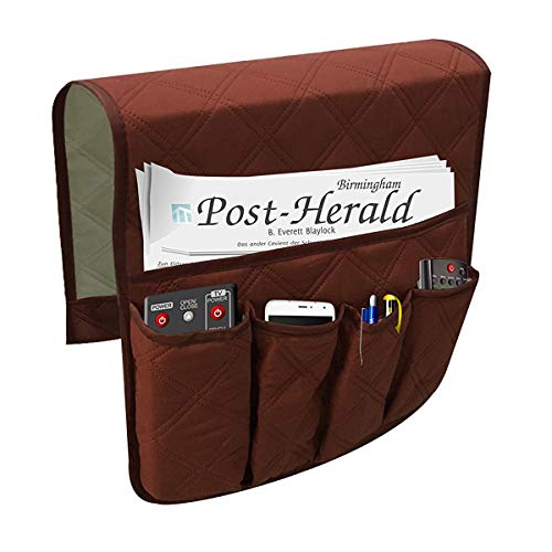 Waterproof Sofa Couch Chair Armrest Organizer with 5 Pockets,Armchair Caddy Fits for Phone, Book, Magazines, Tv Remote Control - Book Holder Remote Control