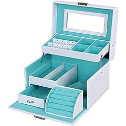 SONGMICS Girls Jewelry Box Lockable Jewelry Organizer Mirrored Storage Case White UJBC114W
