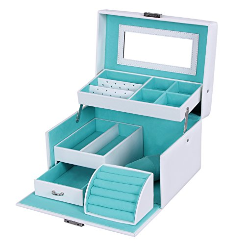 SONGMICS Girls Jewelry Box Lockable Jewelry Organizer Mirrored Storage Case White (Blue Jewelry Box)