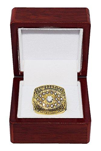 Montana 49ers San Francisco Ring (SAN FRANCISCO 49ERS (Joe Montana) 1981 SUPER BOWL XVI WORLD CHAMPIONS (Vs. Bengals) Vintage Rare & Collectible High-Quality Replica NFL Football Gold Championship Ring with Cherrywood Display Box)