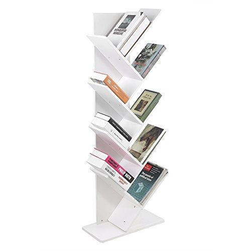Tree Bookshelf,9-Shelf Bookcase Display Rack Shelf Organization Display Storage Furniture for CDs, Movies & Books, White