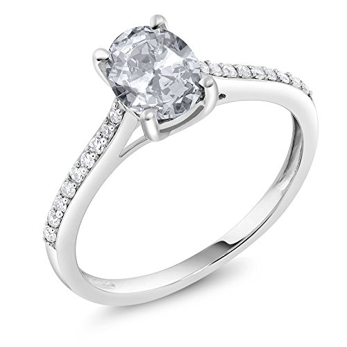Gem Stone King 10K White Gold Pave Diamond Engagement Solitaire Ring set with 8x6mm Oval White Topaz 1.40 ct (Size 6)