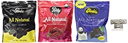 Assorted Panda All Natural Licorice ( Soft Licorice, Raspberry, Blueberry) 7oz. Includes Our Exclusive HolanDeli Chocolate Mints