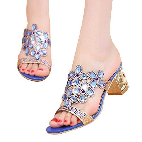 e475a7dc24ba Fheaven Femmes Sandales Strass Pantoufles De Mode Chaussures À Bout Ouvert  Bohème Robe Talons Bleu