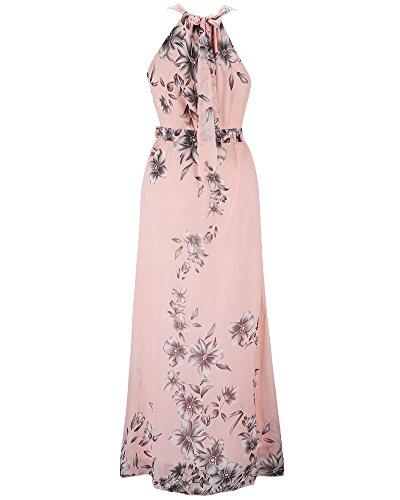 Impresión Sin Pink Cuello Gasa ZhuiKun Vestido con Folral Cinturón Fiesta de Maxi Mujer de Mangas Vestido Halter xqUzYH