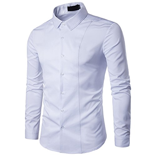 TONLEN Mens Dress Shirts Non Iron Regular Fit Button Down Point Collar Shirt with Embroidery A27-White (Wide Collar Poplin Shirt)