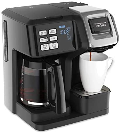 Hamilton Beach FlexBrew Trio Coffee Maker, 2-Way Single Serve & Full 12c Pot, Compatible with Okay-Cup Pods or Grounds, Combo, Black (49976)