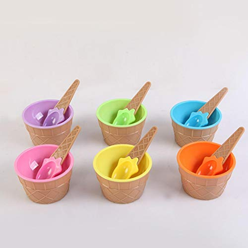 Ladiy Cartoon Candy Color Ice Cream Bowl with Spoon Kids Ice Cream Tool ()