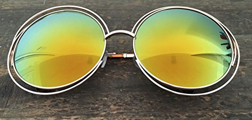 Details about XXL Halo Double Wire Oversized Big Round ROXANNE Bohemian Coachella - Exhibitor Sunglasses