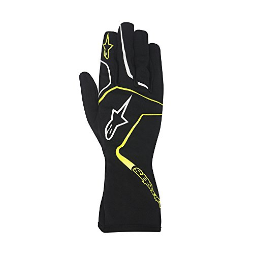 Alpinestars 3552717-155-XL YTH TECH 1-K RACE GLOVES, BLACK/YELLOW FLUORESCENT, SIZE XL (PR)