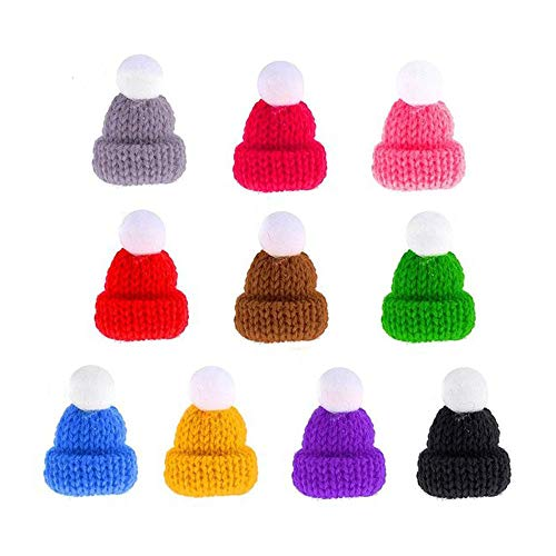 Christmas Knit Hat, DyAiPet 55Pcs Mini Knit Hat Christmas Tree Ornaments, Cute Doll Hat, Jewelry Making DIY Craft Art