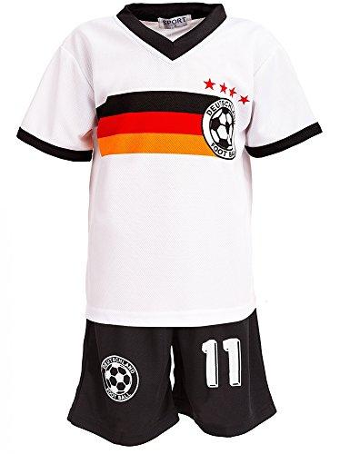 24brands - Jungen Fußball Set 2 Teilig Trainings Trikot Deutschland Italien Brasilien Spanien Türkei Schweiz Ländertrikot - 2630, Größe:146;Farbe:Deutschland Weiß