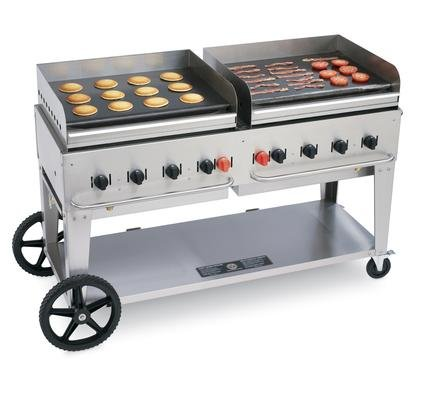 Crown Verity CV-MG-60-NG 69'' Wide Mobile Natural Gas Griddle with 129 000 BTU/H 8 Burners 58'' Cooking Surface Pro Griddle Plates Splash Guard and Removable Grease Tray in Stainless by Crown Verity