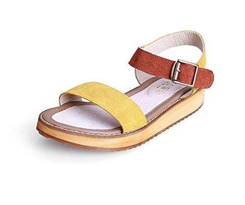 DANDANJIE Sandalias de Las Mujeres Sandalias de Gran tamaño del Estudiante del Dedo del pie del Estudiante del Verano de Las Sandalias Zapatos caseros Amarillo