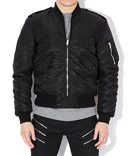 Saint Laurent Men's Glossy Zip-Up Bomber Jacket 48 - Laurent Designer Saint