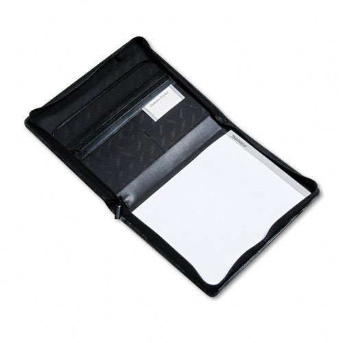 Samsill : Leather Zipper Padfolio with Writing Pad, Organizer Slots, Black -:- Sold as 2 Packs of - 1 - / - Total of 2 Each