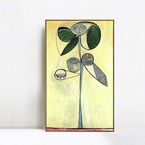 INVIN ART Framed Canvas Giclee Print Art 1946 La Femme-Fleur (Francoise Gilot) 1 by Pablo Picasso Wall Art Living Room Home Office Decorations(Wood Color Slim Frame,24