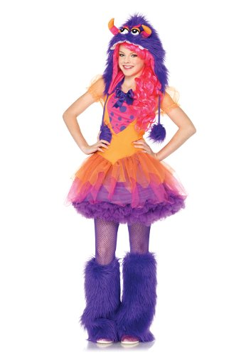 [leg avenue junior's 2 piece faux furrrocious frankie faux furry monster costume, orange/purple,] (Sexy Monster Halloween Costumes)