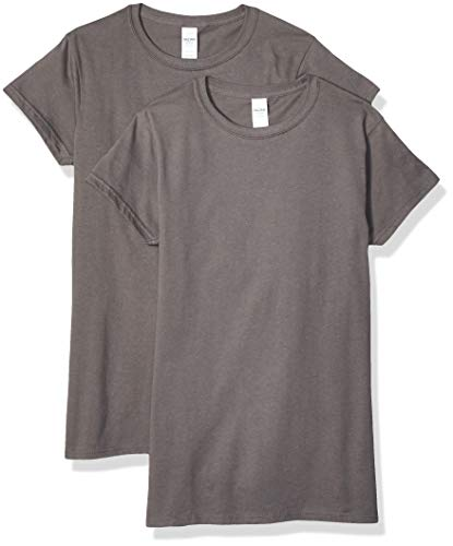 Gildan Women's Fitted Cotton T-Shirt, 2-Pack, Charcoal, Large