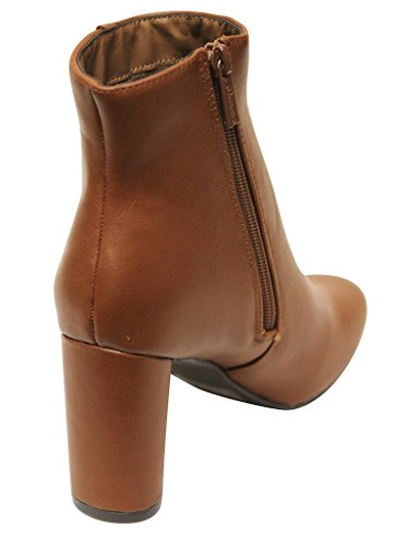 Breckelles Linda-21 Womens Almond Toe Chunky Heel Side Zipper Ankle Boots Tan 7bnJr