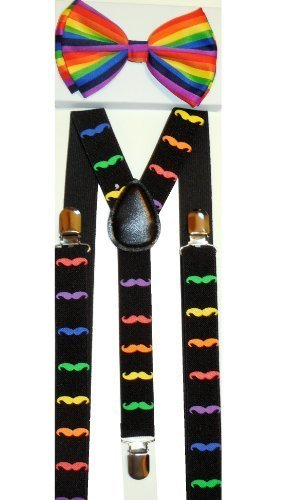 Unisex Rainbow Mustache Suspenders/bow Tie Set - Adjustable (Suspenders Rainbow)